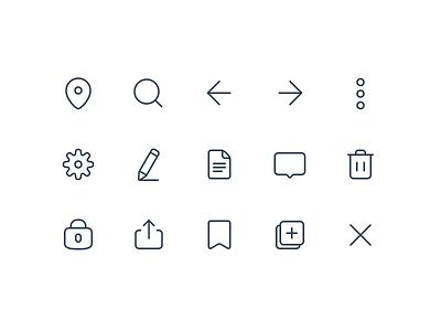 Icon set trash delete search edit settings copy lock save message vector exploration sketch glyphs iconography set icon icons