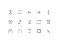 Icon set trash delete search edit settings copy lock save message vector exploration sketch glyphs iconography set icon icons