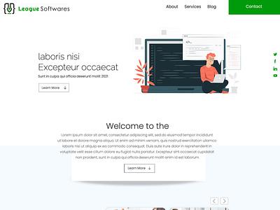 LEAGUE Softwares object layout responsive css3 html5 @brand flat webdesign company software website design website @photoshop logo web