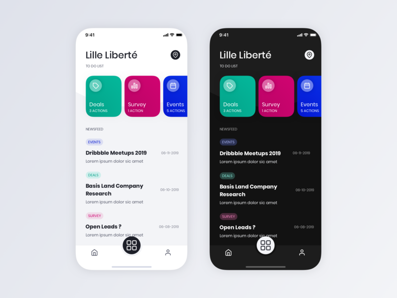 To Do & News dark light newsfeed todolist app ux ui design