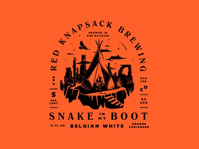 Snake in My Boot Beer wildwest orange teepee desert illustration beer can