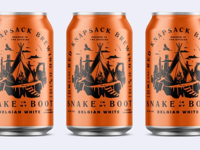 Snake in My Boot Beer Cans mockup wildwest desert orange brewing beer beer can teepee