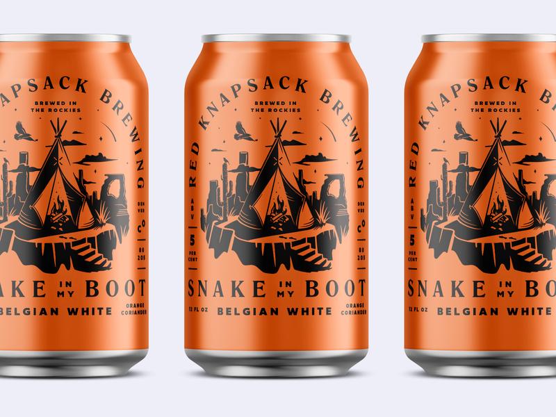 Snake in My Boot Beer Cans mockup wildwest desert orange brewing beer beer can teepee