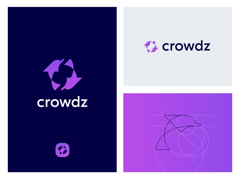 Crowdz Logo Design logo design visual identity brand identity branding brand pack dolphin logo