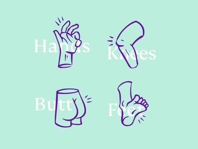 Topical Illustrations visual identity brand illustration branding body parts illustration butt knee feet hands