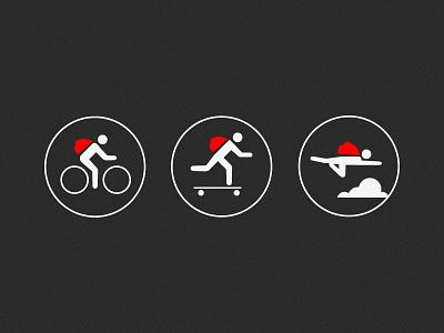 Red Knapsack Motto red knapsack white icon bike skate fly fast speed