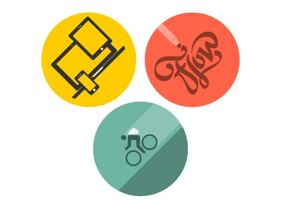 My Specialties Icons icons specialty responsive type flow hand drawn bike speed fast yellow red-orange teal