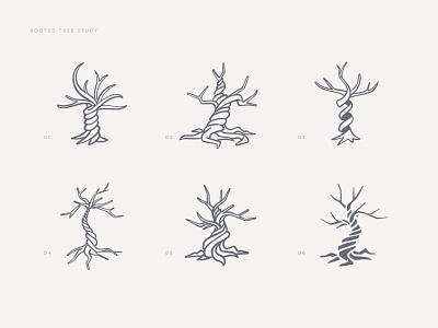 Rooted Tree Logo Study tree branding branding sketches sketch logo tree logo twisted tree tree rooted