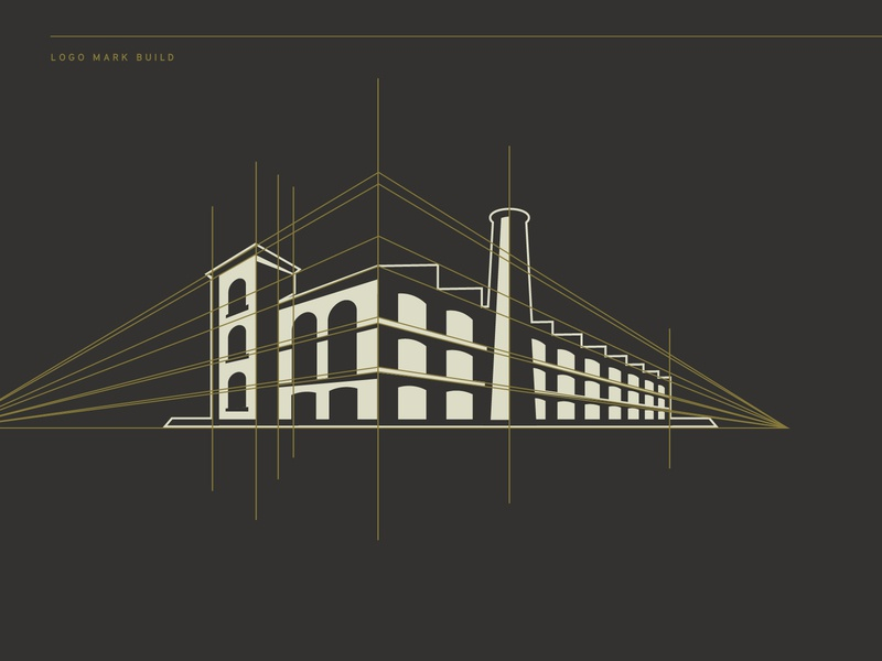 Factory Logo Mark illustration perspective building build manufacturer manufacturing mill logodesign logo guides logomark logo factory
