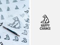Happy Chance Bear Logo logo design thumbnails sketches sketch logo process process branding logo sitting bear bear logo bear