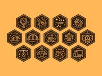 Skill Badges icon design iconography icon set icon illustration typography badge design badges