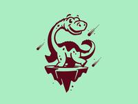 End of the World branding brontosaurus long neck green meteors illustration design island dinosaur dino illustration