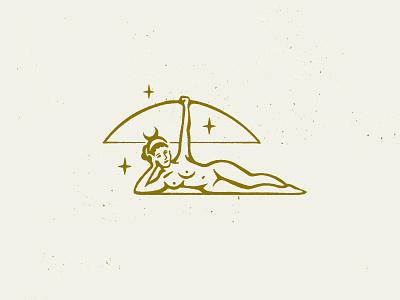 Artemis Logo Concept sketch illustrator texture stars bow and arrow goddess woman illustration gold logo concept logo