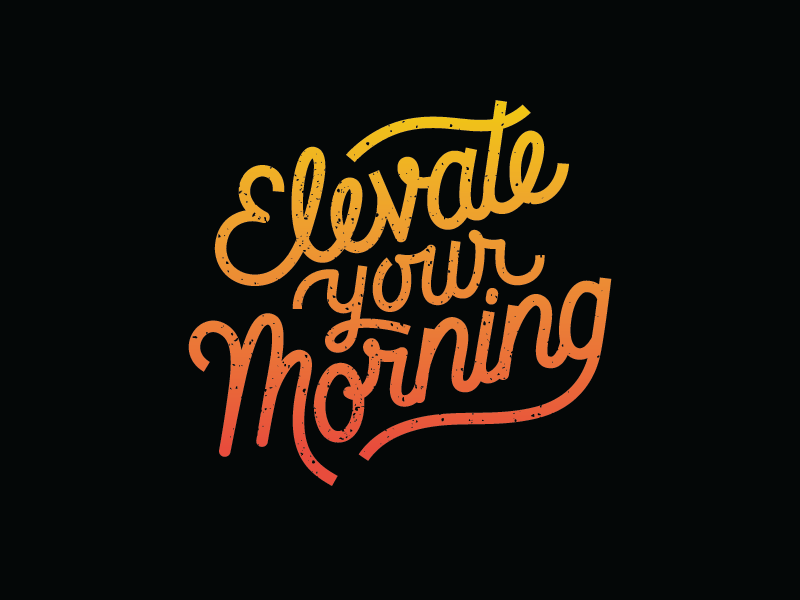Elevate Logo draft elevate your morning script sun yellow black type typography logotype