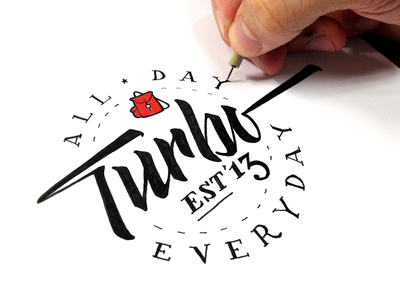 Turbo Everyday - Red Knapsack motto turbo all day 2013 script pen black red hand drawn