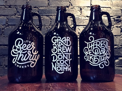 Type Growler Series hand lettered script packaging quote ligatures triptych series growler beer type