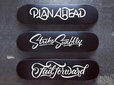 Painted Skate Decks ligature hand lettering script typography type paint deck skate