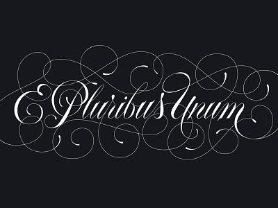 E Pluribus Unum spencerian flourishes ligatures script typography type america usa pluribus e