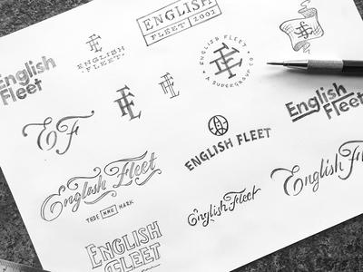 English Fleet Sketches branding thumbnails sketches sketch concepts logos fleet english