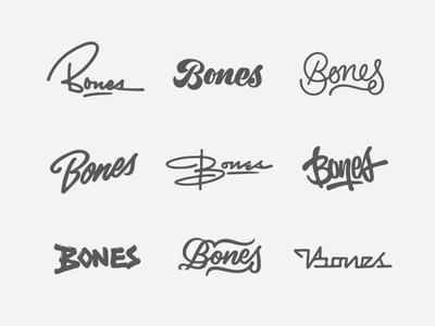 Bones Logotype Thumbs sketch thumbs typography type script logotype logo bones