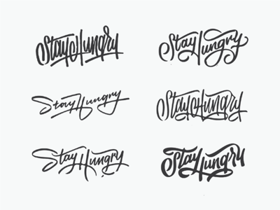 Moxie Mural Sketches typography texture ligatures script type thumbnails sketches hungry stay mural