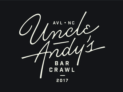 Uncle Andy's Crawl asheville bar andy monoline script typography type