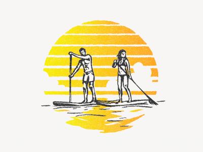 Paddle boarding Illustration summer offset sun halftone illustration boarding paddle