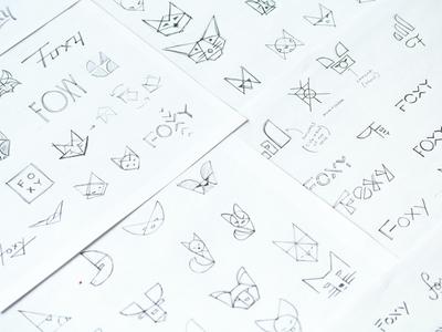Foxy Sketches branding pencil identity brand thumbnails sketches fox foxy