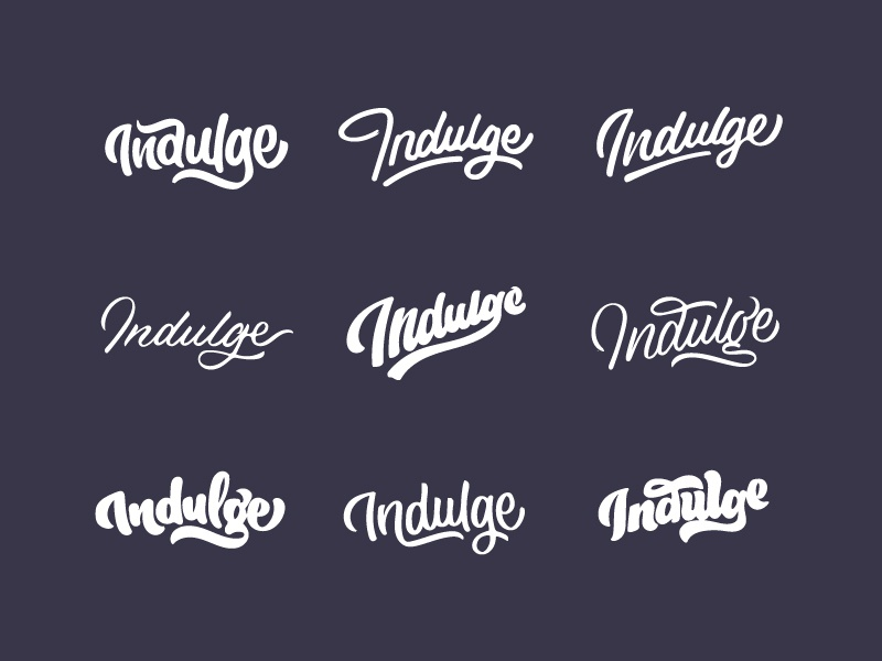 Indulge Thumbnails ligatures script hand lettering lettering typography type process sketch thumbnails sketches indulge