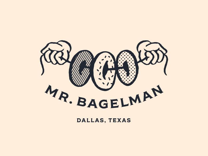 Mr. Bagelman Logo illustration halftone hands logo bagelman bagel mr