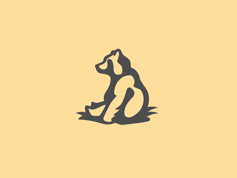 Happy Bear Logo Mark shadow minimal illustration logomark logo yellow bear