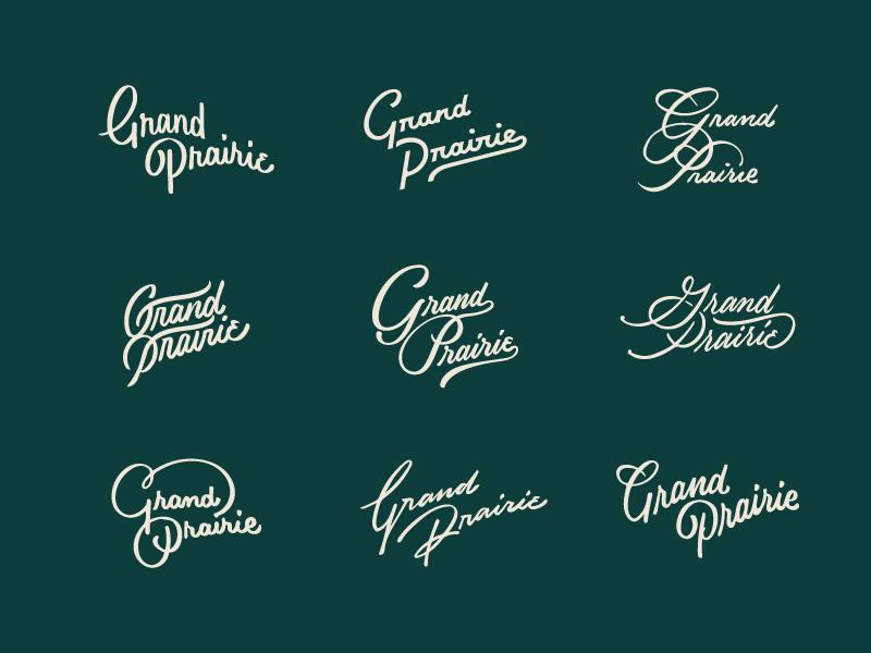 Grand Prairie Thumbnails ligature type hand lettering script lettering script wordmark logotype prairie grand