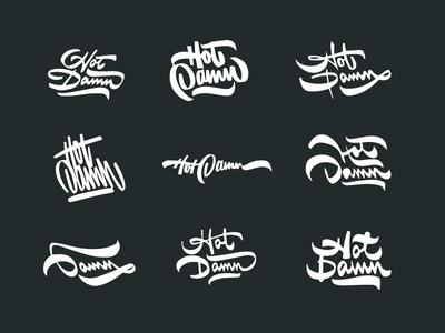 Hot Damn Sketches ligaures typography type script procreate app procreate ipad thumbnails sketches hot damn hot