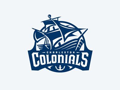 Colonials Hockey Badge blue illustration sails ship badge logo hockey
