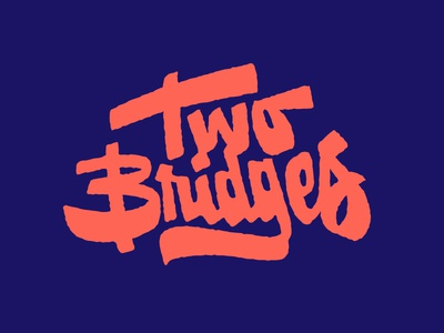Two Bridges slab lettering handlettering lettering logo chunk texture type script typography bridges two