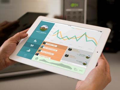 Power consumption app, stage 2 mobile app ipad interface ui flat
