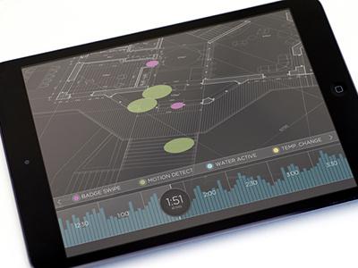 Security system app mockup app ui tablet black data