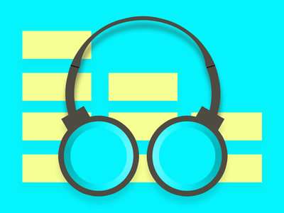 headphone doodle blue and yellow design