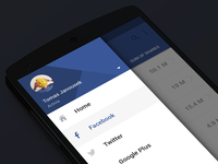 Analytics App android sidemenu design material blue facebook analytics