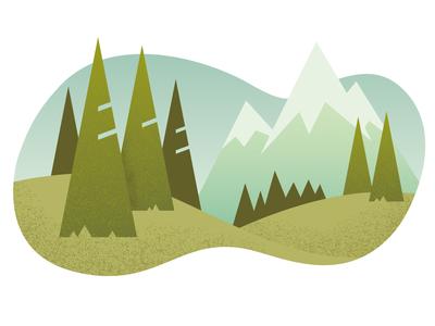 Steep Gradient blob spot illustration pastel trees mountain texture gradient design geometric illustration illustrator vector