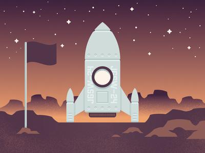 Landing Site planet rocket space texture pastel gradient geometric vector illustrator illustration design