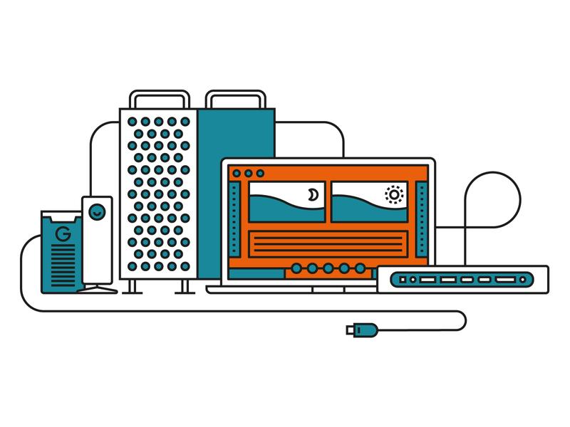 IT Essentials macbook computer apple mac it vector geometric corporate illustrator illustration