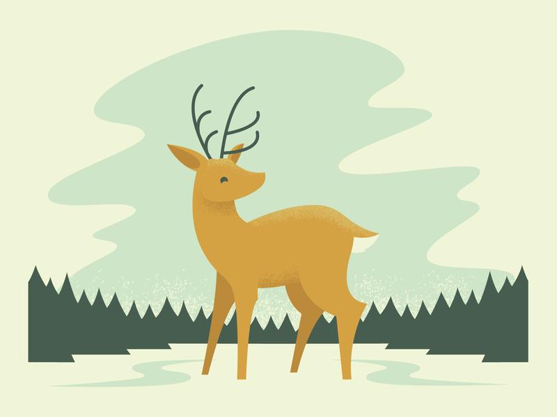 Deer ice forest animal christmas winter snow deer pastel illustrator vector illustration