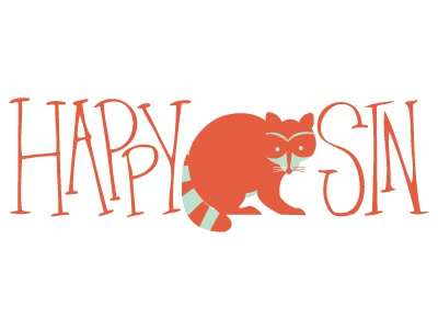 Happy Sin animal raccoon illustration hand-drawn type logo