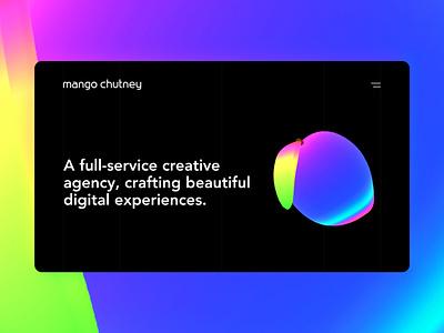 mangochutney.com.au | Mango Chutney Website mango chutney mango typography minimal holographic dark ui website uiux graphic design threejs nextjs gsap react design web development web design 3d branding