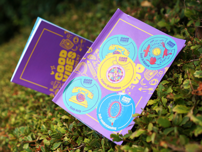 Activity Book Design   Good Vibes Experiment stickers guide wellbeing mental health motion graphics branding fun activity science carnival quirky collateral print layout book playful illustration design graphic design editorial