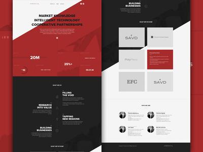 Crimson Mock design web header hero business diagonal angle