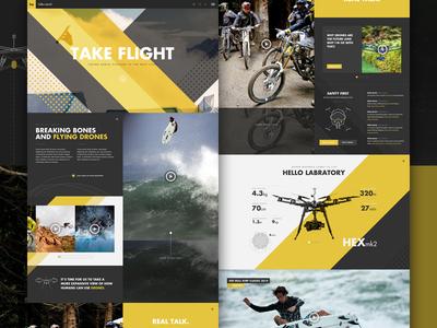 Hello Aerial Full angle elegant seagulls hero header design web ui stats lab labs drone yellow