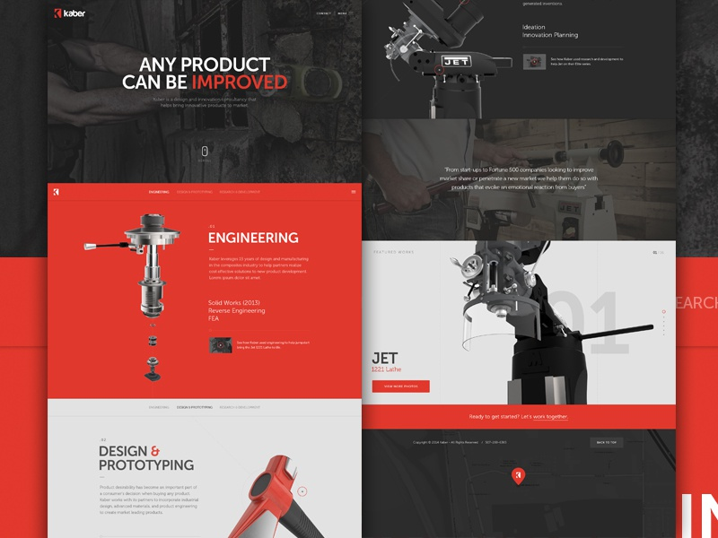 Kaber Full ui web design content red parallax featured slider hero