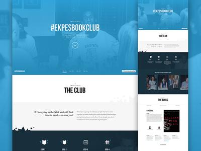 Ekpes Book Club hero slider featured parallax blue content design web ui book